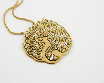 Tricolor Gold Peacock Pendant Necklace