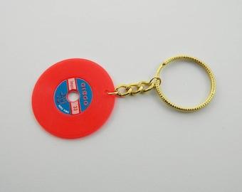 Vintage Vinyl Keychain in Red