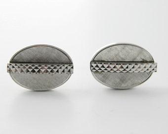 Diamond Cut Oval Cuff Links