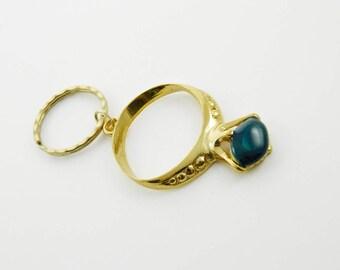 Vintage Blue Gemstone Ring Keychain