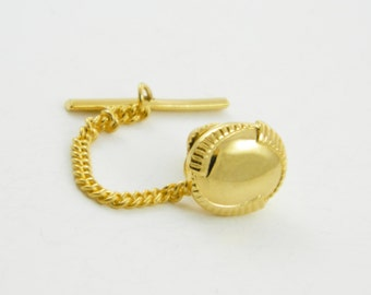 Vintage Etched Circle Lapel Pin with Chain - 002- Vintage Tie Tack