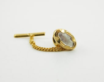 Vintage Gold & Silver Oval Lapel Pin with Chain - 011 - Vintage Tie Tack