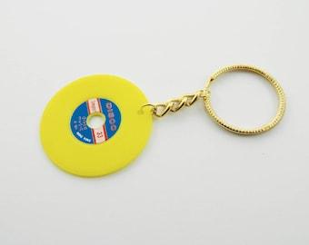 Vintage Vinyl Keychain in Neon Yellow