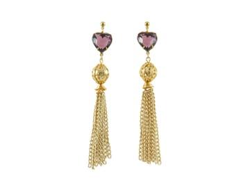 Amethyst Heart Tassel Earrings - Amethyst Heart Earrings