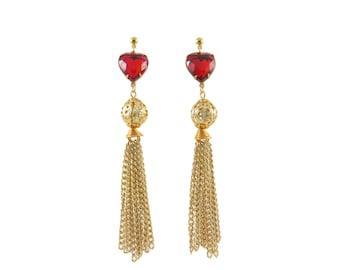 Ruby Heart Tassel Earrings
