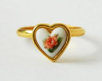 Gold Rose Heart Ring