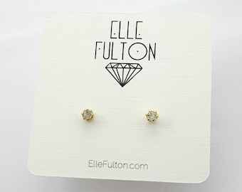 Faux Diamond Crystal Studs
