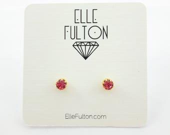 Pink Sapphire Crystal Studs
