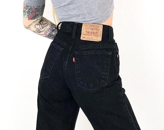 Vintage Levi's 550 Black Jeans / Size 26