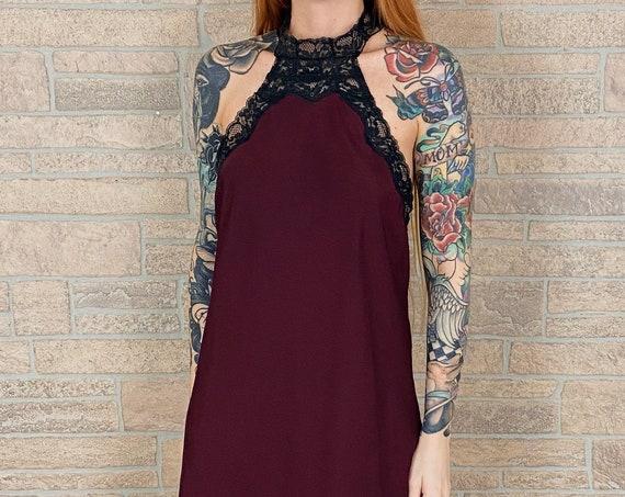 Sangria and Black Lace Lingerie Halter Slip Dress