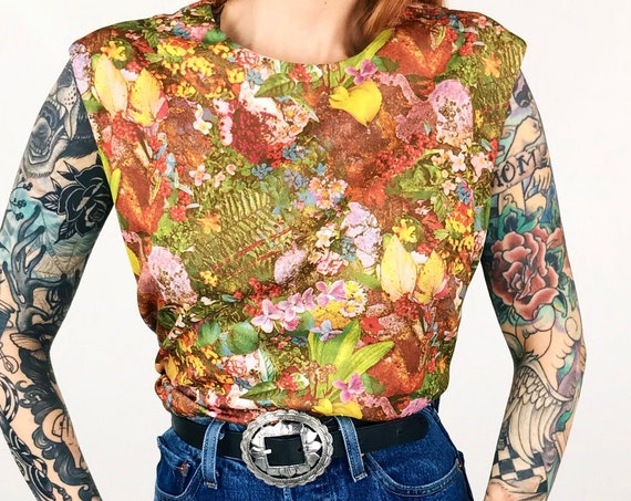 60's Psychedelic Colorful Floral Print Blouse
