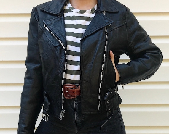 80's Black Leather Motorcycle Moto Jacket / Women's XS S