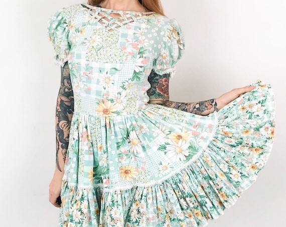 Rockabilly Plaid Daisy Square Dance Prairie Mini Dress