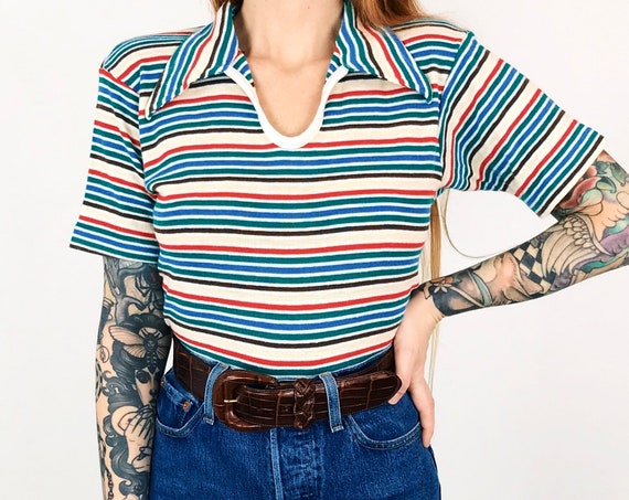 60's Striped Collared Tee T-Shirt Top