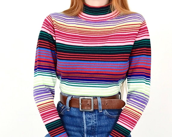 Rainbow Striped Knit Pullover