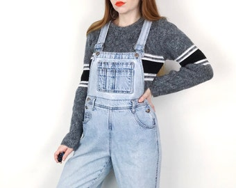 7a22cbb4190 Vintage 90 s Faded and Worn In Light Wash Blue Denim Dungarees Overalls     Women s size Small S