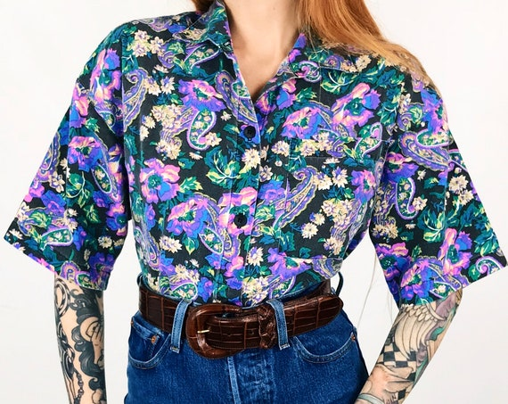 Vintage Paisley Rose Print Button Up Shirt