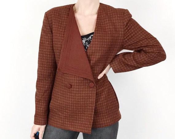 70's Asymmetrical Mod Chic Wool Tartan Blazer Jacket / Size XS Small