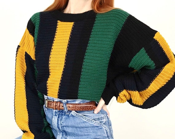 Vintage Striped Chunky Knit Pullover Sweater