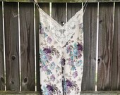 Vintage Ivory Lace Floral Rose Print Cami Lingerie Dress Women 39 s size Small S Medium M
