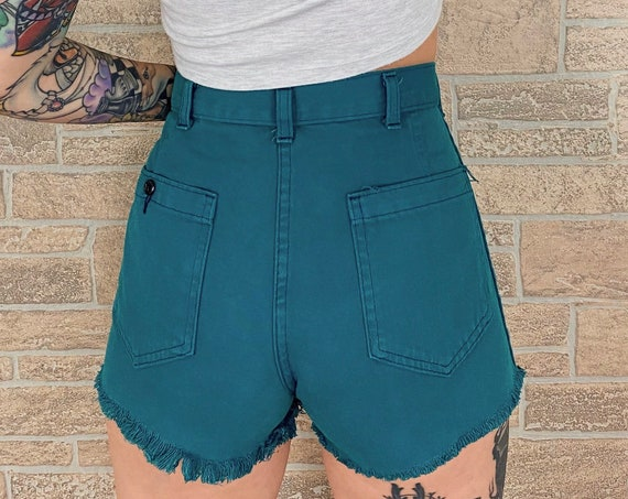 60's SEAFARER Teal Cut Off Shorts / Size 29