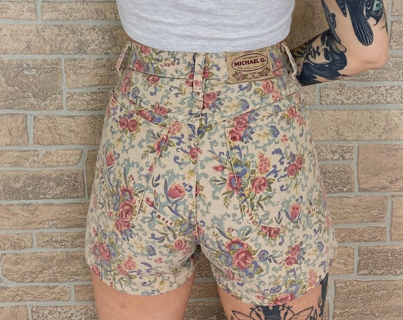 Floral High Rise Printed Shorts / Size 25