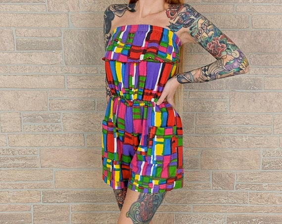 90's Funky Colorful Tube Top Romper