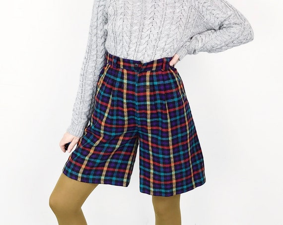 High Waisted Plaid Knit Shorts / Size 26