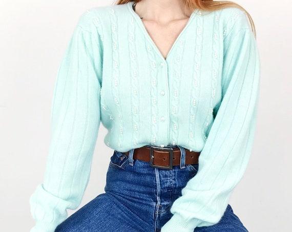 Vintage Angora Mint Green Pearl Knit Cardigan Sweater