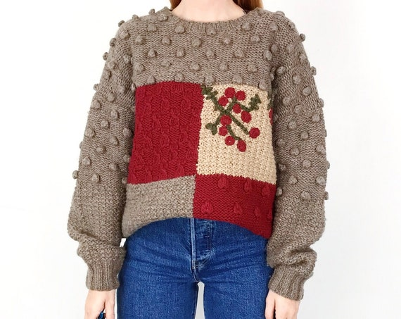 80's Pure Wool Hand Knit Chunky Winter Sweater