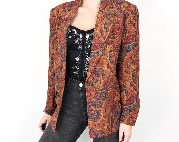Vintage Paisley Print Blazer Jacket XS Small