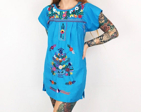 Embroidered Boho Oaxacan Mexican Style Dress