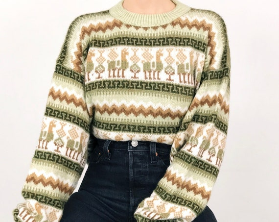 Vintage Alpaca Wool Peruvian Knit Sweater