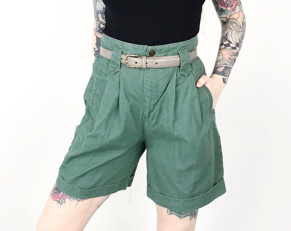Olive Green High Waisted Utility Shorts / Size 27