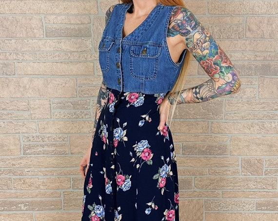 90's Denim Floral Button Front Maxi Dress