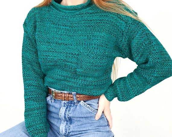 Vintage Woven Knit Teal Pullover Sweater
