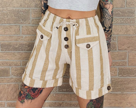 Pinstriped High Rise Knit Summer Shorts / Size Small