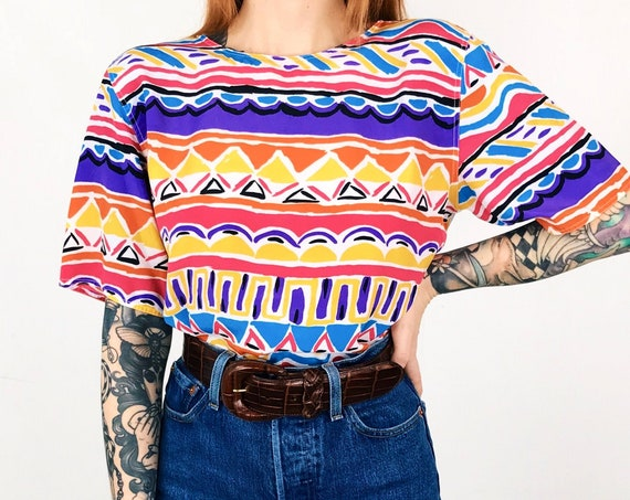 Colorful Abstract Geometric Blouse