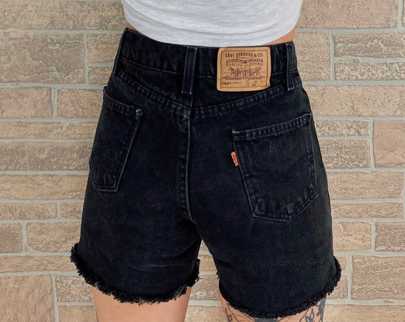 Levi's Black Denim Orange Tab Shorts / Size 24