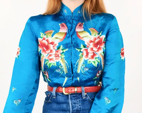 Vintage Embroidered Cheongsam Mandarin Collar Blouse