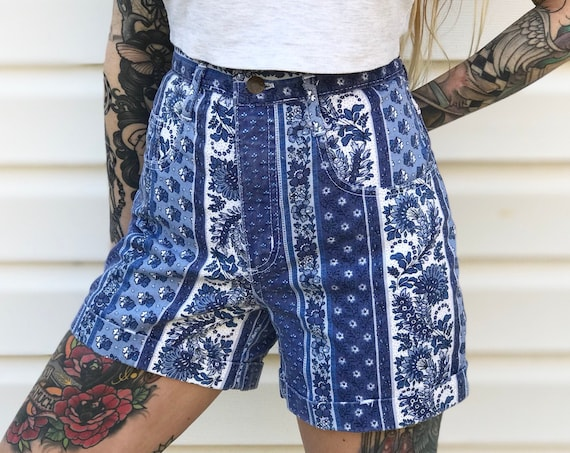 Vintage High Waisted Floral Striped Shorts / Size 27