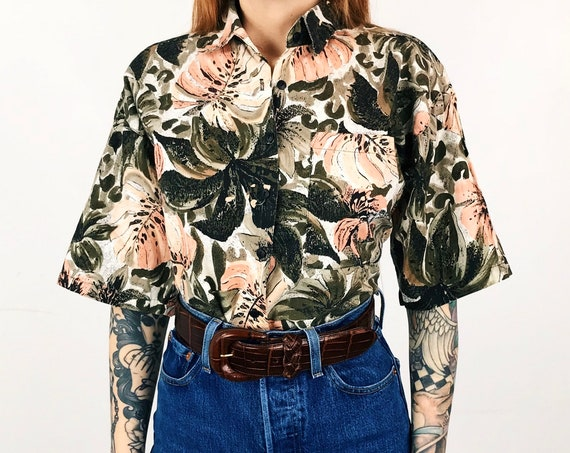 Vintage Botany Print Button Up Shirt