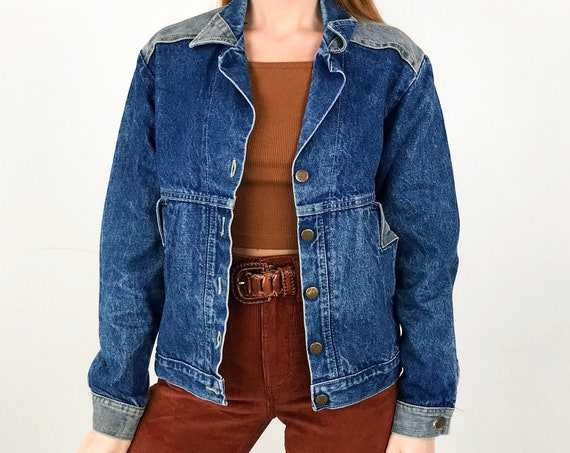 70's Vintage CHIC Two Tone Denim Jacket