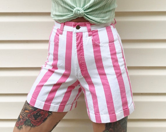 Striped Pink White Denim Shorts / Size 23 XS