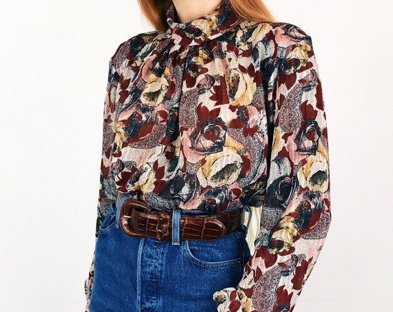 Sheer Rose and Paisley Vintage Blouse