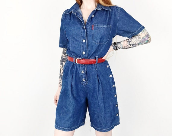 90's Minimalist Denim Blue Jean Mod Playsuit Romper