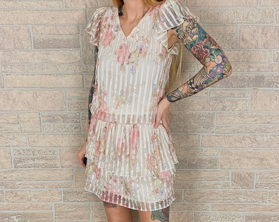 Delicate Floral Lace Tiered Drop Waist Dress