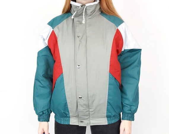 Vintage Colorblock Puffer Jacket