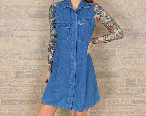 90's Sleeveless Denim Dress