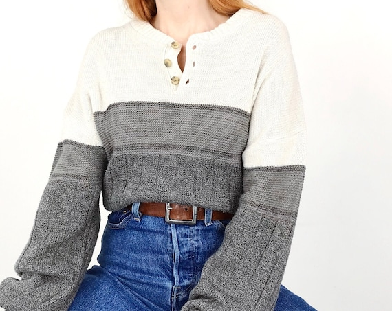 Cozy Knit Henley Fisherman Pullover Sweater